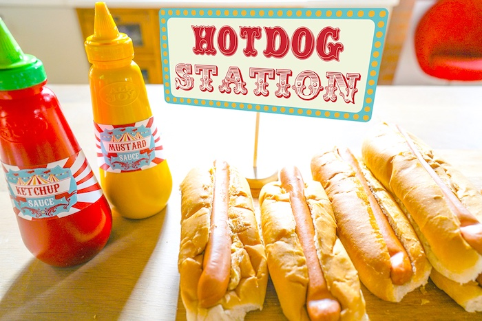 Hotdog station from a Backyard Carnival Party on Kara's Party Ideas | KarasPartyIdeas.com (28)