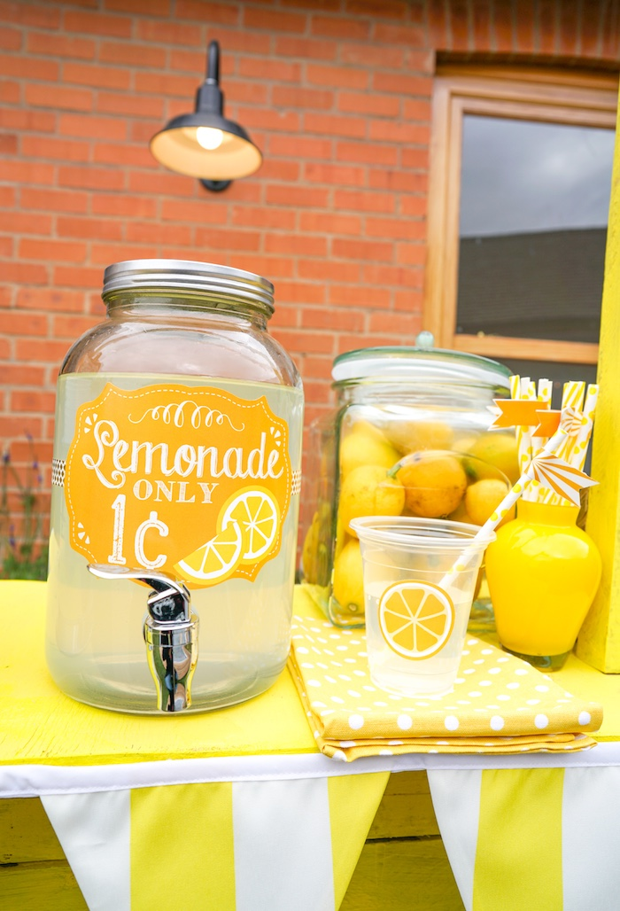 Lemonade stand from a Backyard Carnival Party on Kara's Party Ideas | KarasPartyIdeas.com (25)