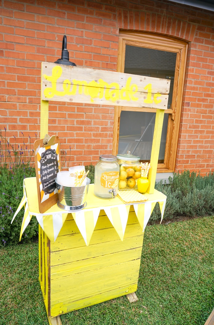 Lemonade stand from a Backyard Carnival Party on Kara's Party Ideas | KarasPartyIdeas.com (23)