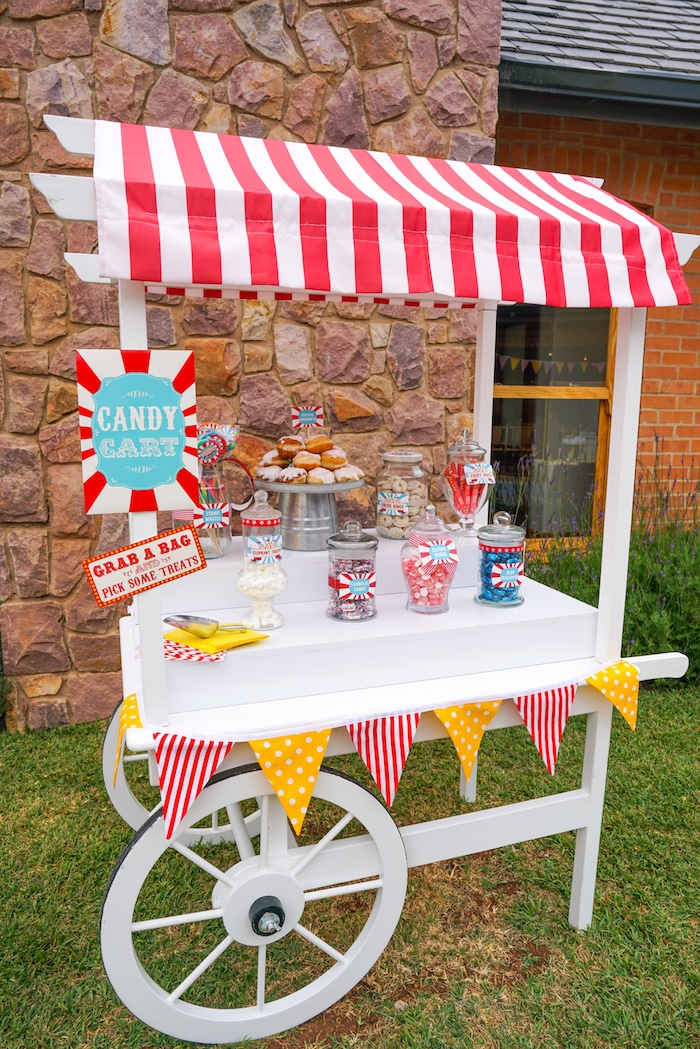 Candy cart from a Backyard Carnival Party on Kara's Party Ideas | KarasPartyIdeas.com (46)