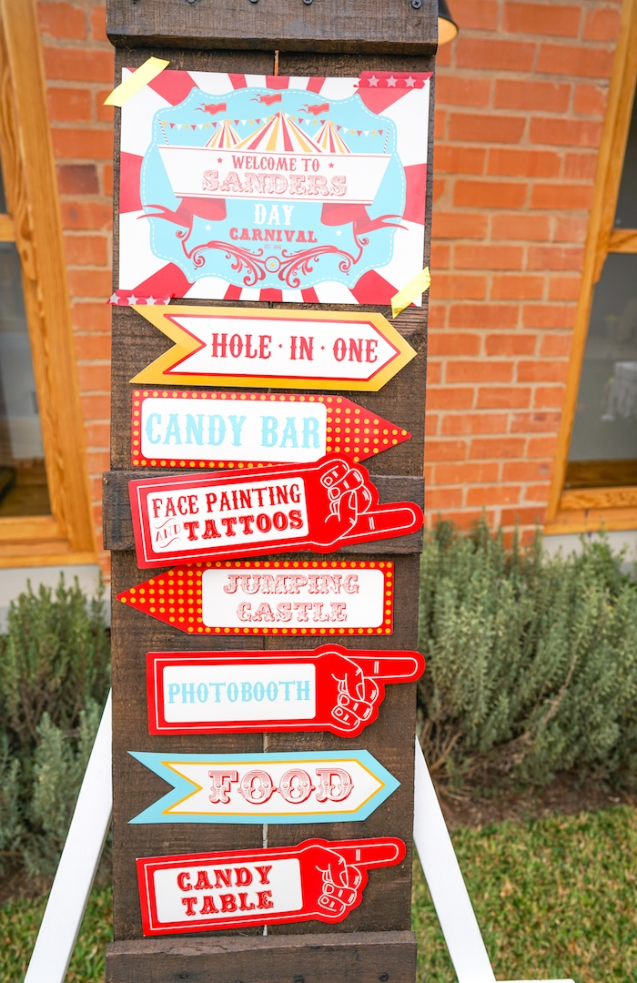 Directional sign from a Backyard Carnival Party on Kara's Party Ideas | KarasPartyIdeas.com (9)