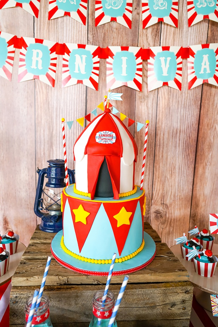 Cake from a Backyard Carnival Party on Kara's Party Ideas | KarasPartyIdeas.com (5)