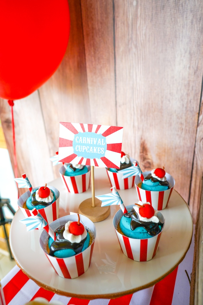 Carnival cupcakes from a Backyard Carnival Party on Kara's Party Ideas | KarasPartyIdeas.com (44)
