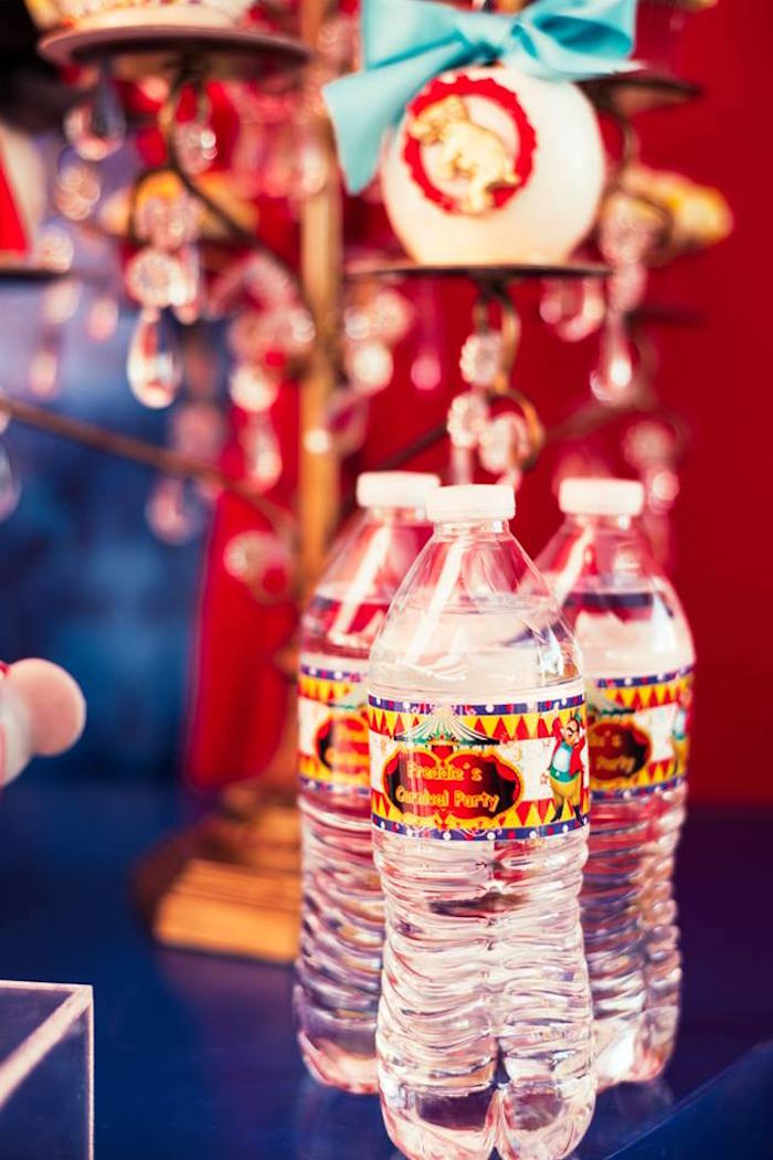 Circus water bottles from a Big Top Circus Birthday Party on Kara's Party Ideas | KarasPartyIdeas.com (9)