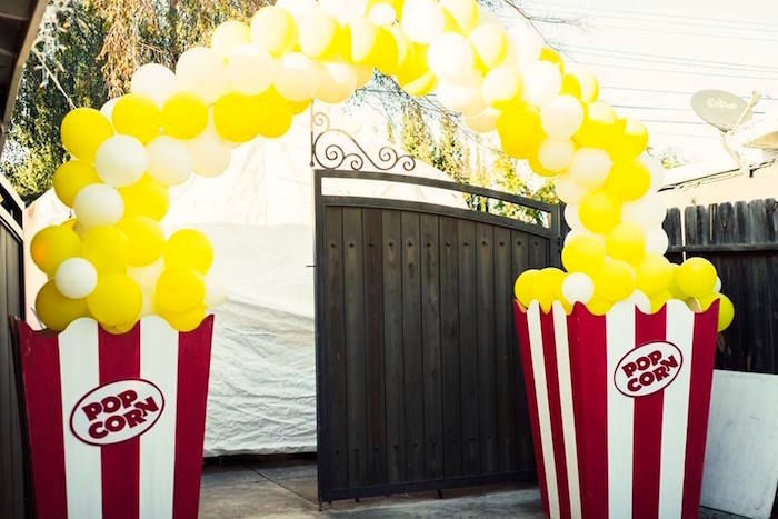 Popcorn balloon arch from a Big Top Circus Birthday Party on Kara's Party Ideas | KarasPartyIdeas.com (5)