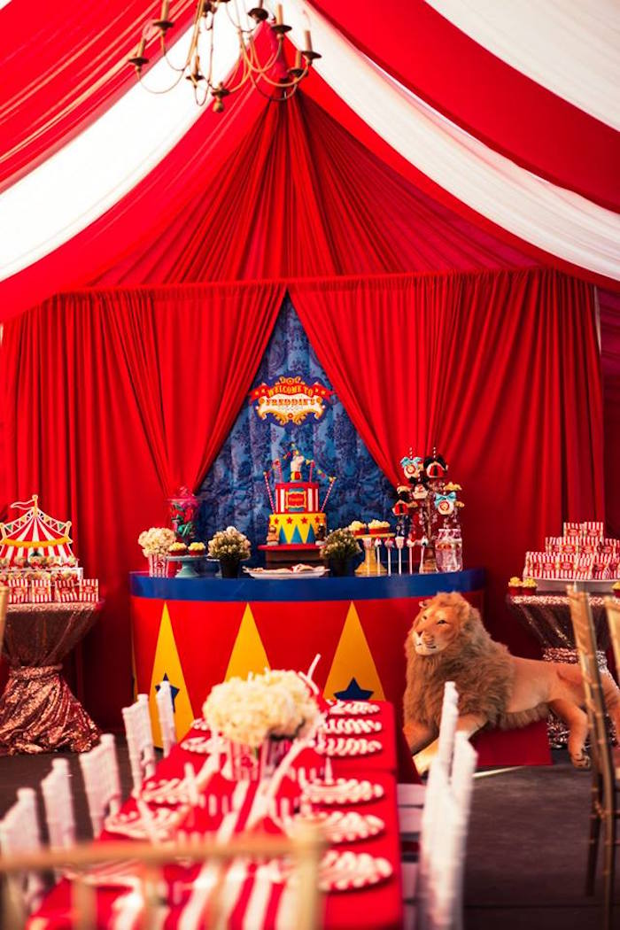 Party tables from a Big Top Circus Birthday Party on Kara's Party Ideas | KarasPartyIdeas.com (18)