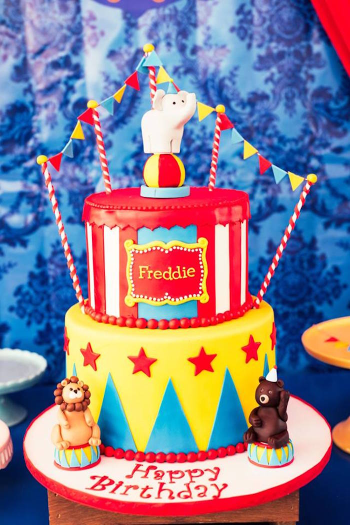 Circus cake from a Big Top Circus Birthday Party on Kara's Party Ideas | KarasPartyIdeas.com (16)