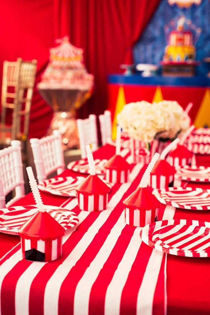 Guest table from a Big Top Circus Birthday Party on Kara's Party Ideas | KarasPartyIdeas.com (15)