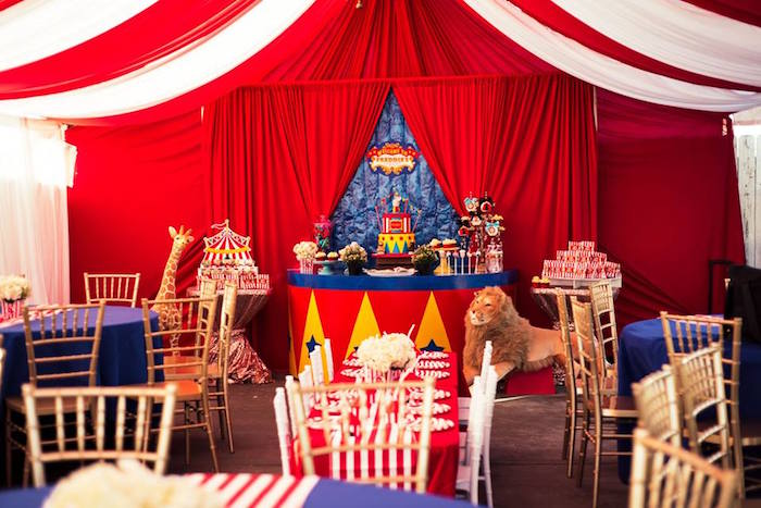 Partyscape from a Big Top Circus Birthday Party on Kara's Party Ideas | KarasPartyIdeas.com (14)