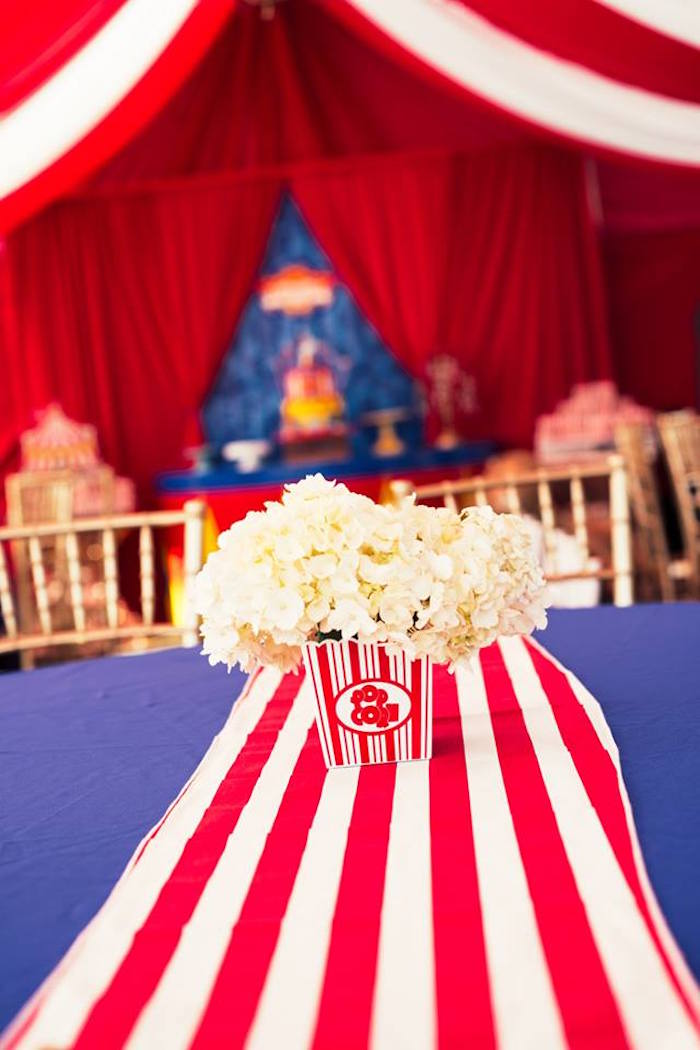 Popcorn-inspired floral arrangement from a Big Top Circus Birthday Party on Karau0027s Party Ideas : circus tent decorations - memphite.com
