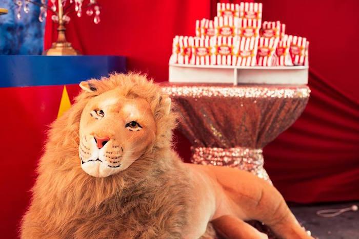 Plush lion from a Big Top Circus Birthday Party on Kara's Party Ideas | KarasPartyIdeas.com (11)