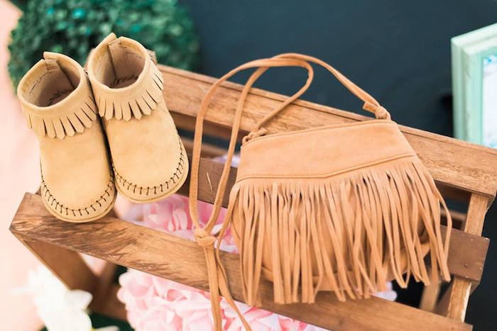 Moccasins and purse from a Bohemian Coachella Inspired Birthday Party on Kara's Party Ideas | KarasPartyIdeas.com (7)
