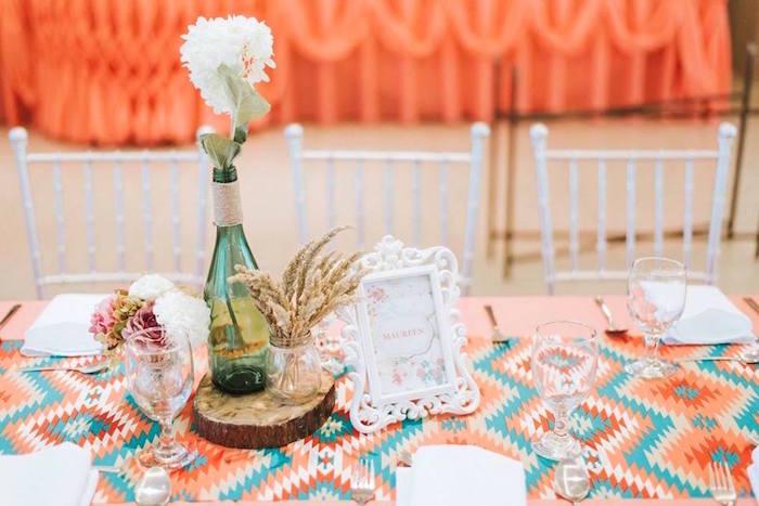 Guest table from a Bohemian Coachella Inspired Birthday Party on Kara's Party Ideas | KarasPartyIdeas.com (5)