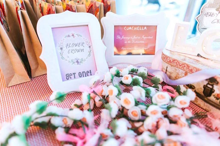 Floral crown favors + prints from a Bohemian Coachella Inspired Birthday Party on Kara's Party Ideas | KarasPartyIdeas.com (17)