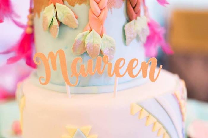 Custom name cake banner from a Bohemian Coachella Inspired Birthday Party on Kara's Party Ideas | KarasPartyIdeas.com (11)