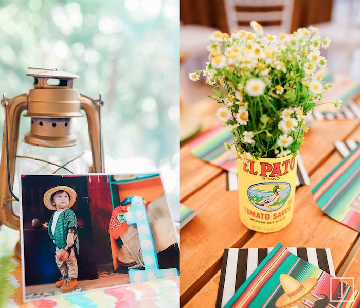 Tin can flower centerpiece + decor from a Cactus Fiesta Birthday Party on Kara's Party Ideas | KarasPartyIdeas.com (5)