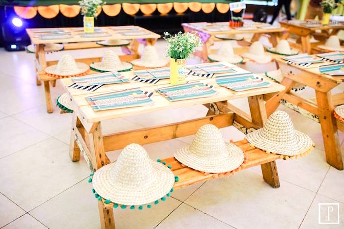 Kid tables from a Cactus Fiesta Birthday Party on Kara's Party Ideas | KarasPartyIdeas.com (25)