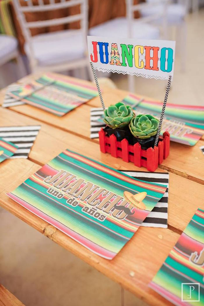 Guest table centerpiece from a Cactus Fiesta Birthday Party on Kara's Party Ideas | KarasPartyIdeas.com (24)