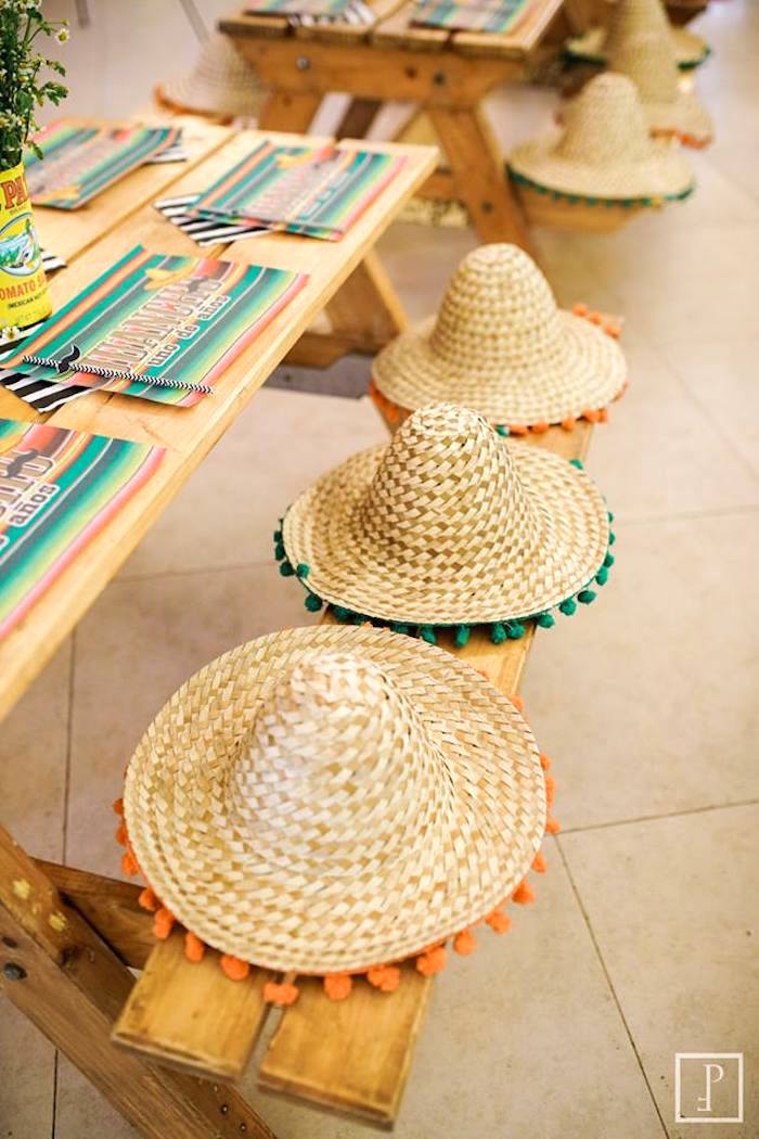 Sombreros from a Cactus Fiesta Birthday Party on Kara's Party Ideas | KarasPartyIdeas.com (23)