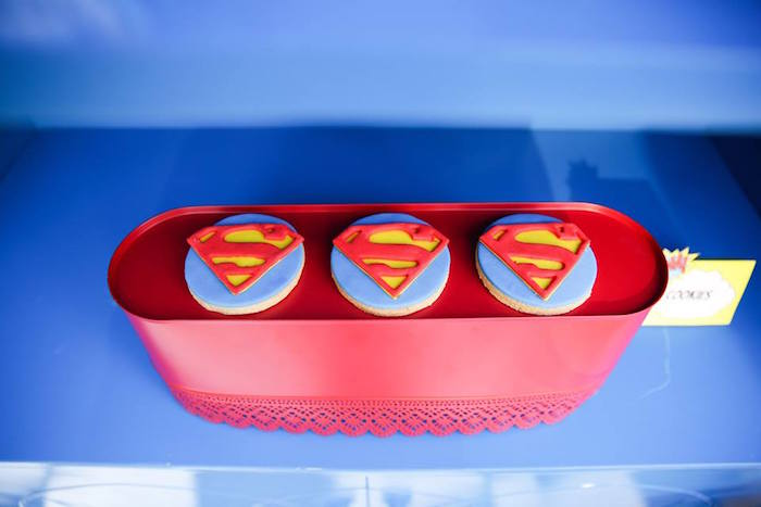 Superman cookies from a Calling All Superheroes Birthday Party on Kara's Party Ideas | KarasPartyIdeas.com (41)