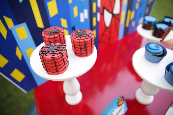 Mini Spiderman cakes from a Calling All Superheroes Birthday Party on Kara's Party Ideas   KarasPartyIdeas.com (40)