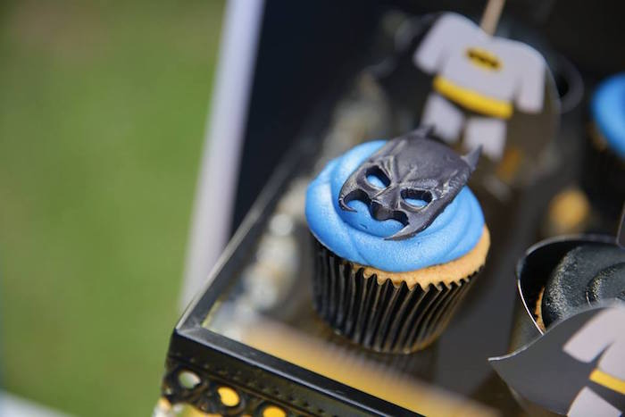 Batman cupcake from a Calling All Superheroes Birthday Party on Kara's Party Ideas | KarasPartyIdeas.com (39)