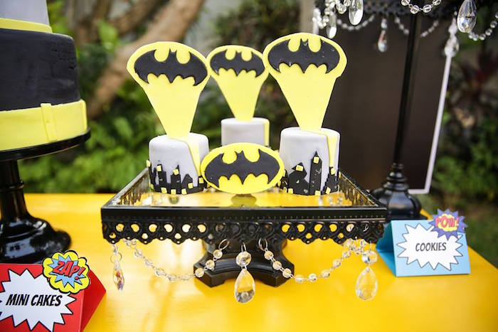 Mini Batman cityscape cakes from a Calling All Superheroes Birthday Party on Kara's Party Ideas | KarasPartyIdeas.com (38)
