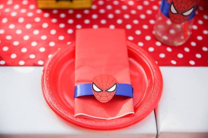 Spiderman place setting from a Calling All Superheroes Birthday Party on Kara's Party Ideas | KarasPartyIdeas.com (37)