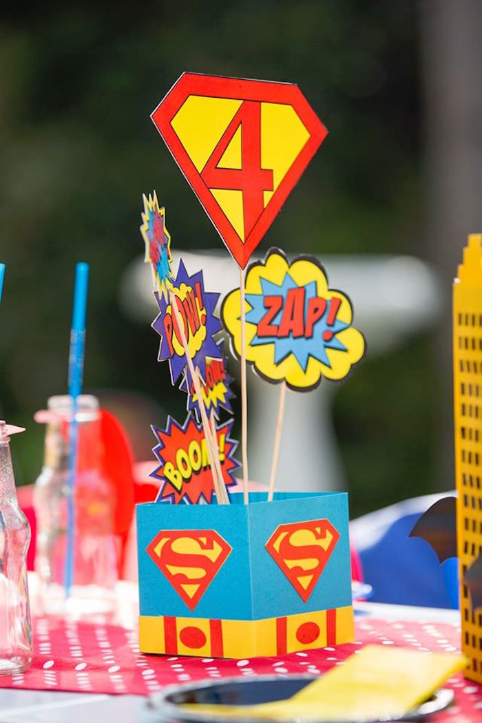 Superhero centerpiece from a Calling All Superheroes Birthday Party on Kara's Party Ideas | KarasPartyIdeas.com (36)