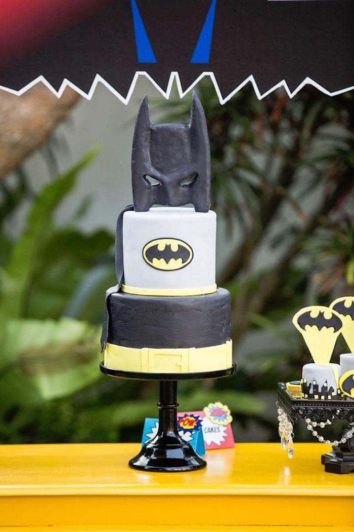Batman cake from a Calling All Superheroes Birthday Party on Kara's Party Ideas | KarasPartyIdeas.com (34)