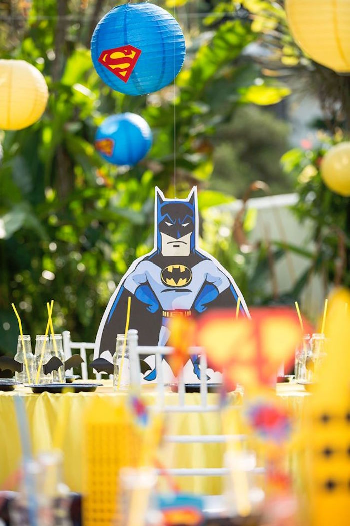 Batman guest table from a Calling All Superheroes Birthday Party on Kara's Party Ideas | KarasPartyIdeas.com (33)