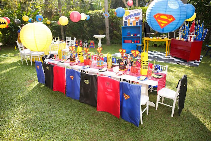 Superhero guest table from a Calling All Superheroes Birthday Party on Kara's Party Ideas | KarasPartyIdeas.com (31)
