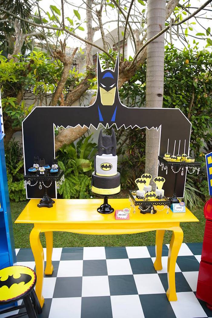 Batman dessert table from a Calling All Superheroes Birthday Party on Kara's Party Ideas | KarasPartyIdeas.com (30)