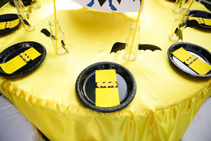 Batman place settings from a Calling All Superheroes Birthday Party on Kara's Party Ideas | KarasPartyIdeas.com (29)
