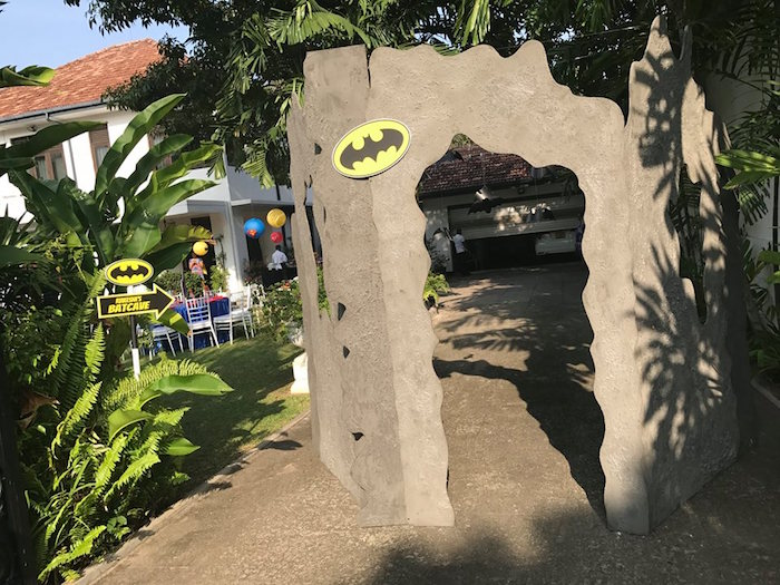 Batcave from a Calling All Superheroes Birthday Party on Kara's Party Ideas | KarasPartyIdeas.com (28)