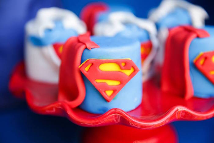 Mini superman cake from a Calling All Superheroes Birthday Party on Kara's Party Ideas | KarasPartyIdeas.com (27)