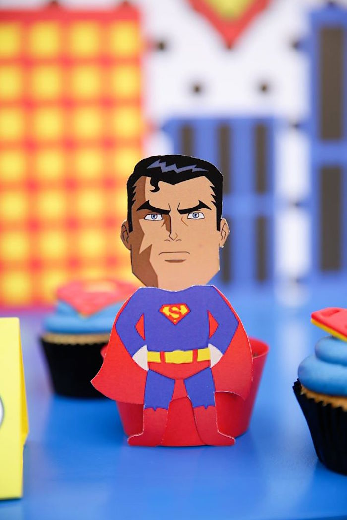 Superman cupcake wrapper from a Calling All Superheroes Birthday Party on Kara's Party Ideas | KarasPartyIdeas.com (25)