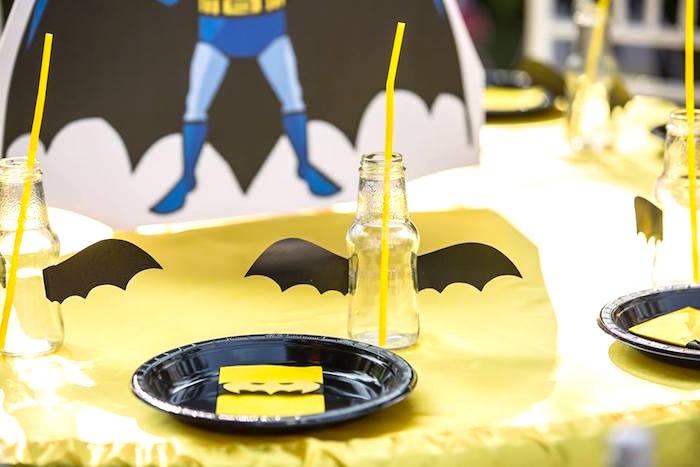 Batman place settings from a Calling All Superheroes Birthday Party on Kara's Party Ideas | KarasPartyIdeas.com (22)