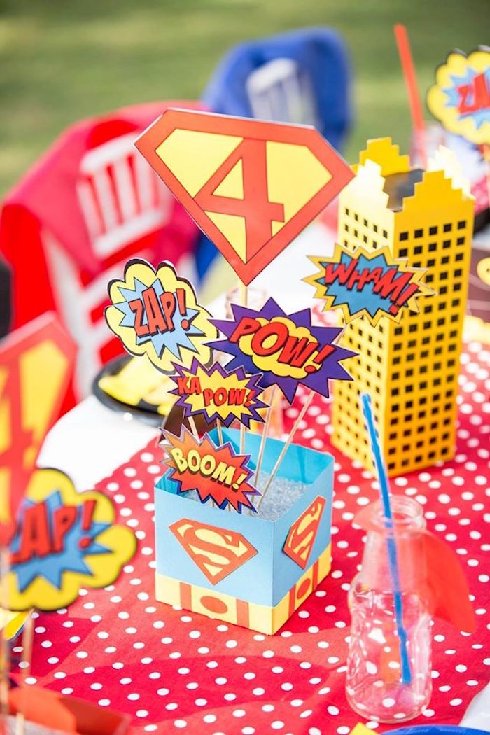 Guest table centerpieces from a Calling All Superheroes Birthday Party on Kara's Party Ideas | KarasPartyIdeas.com (49)