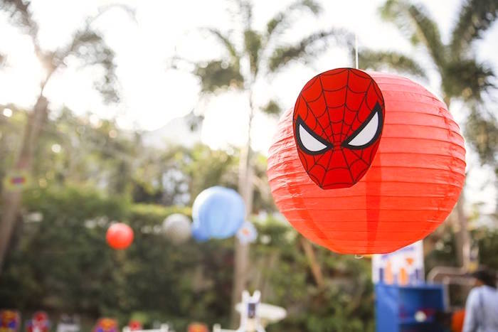 Spiderman paper lantern from a Calling All Superheroes Birthday Party on Kara's Party Ideas | KarasPartyIdeas.com (21)