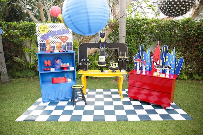 Dessert tables from a Calling All Superheroes Birthday Party on Kara's Party Ideas | KarasPartyIdeas.com (17)