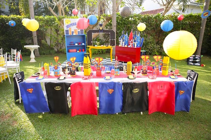 Guest table from a Calling All Superheroes Birthday Party on Kara's Party Ideas | KarasPartyIdeas.com (16)