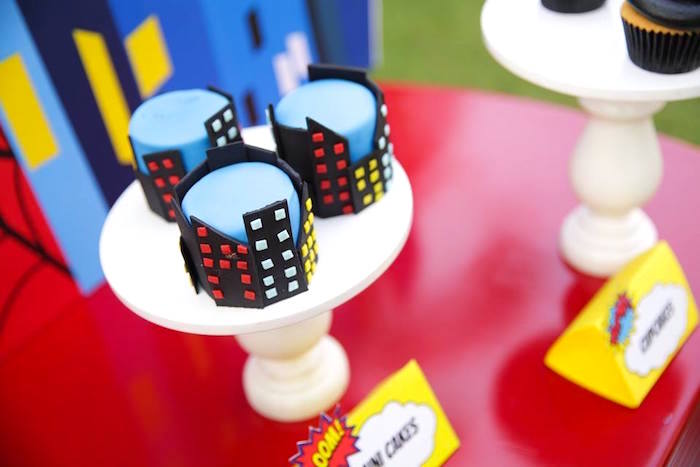 Mini cityscape cakes from a Calling All Superheroes Birthday Party on Kara's Party Ideas | KarasPartyIdeas.com (15)