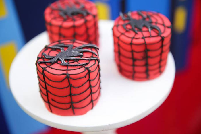 Mini Spiderman cakes from a Calling All Superheroes Birthday Party on Kara's Party Ideas | KarasPartyIdeas.com (13)