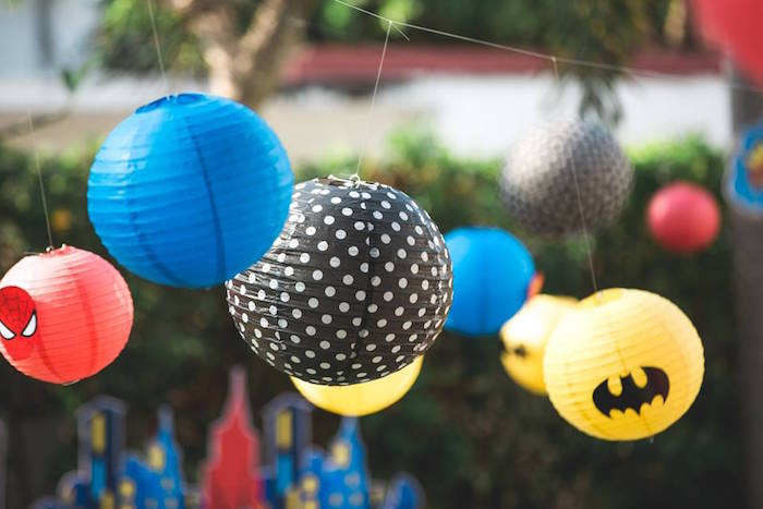Paper lanterns from a Calling All Superheroes Birthday Party on Kara's Party Ideas | KarasPartyIdeas.com (12)