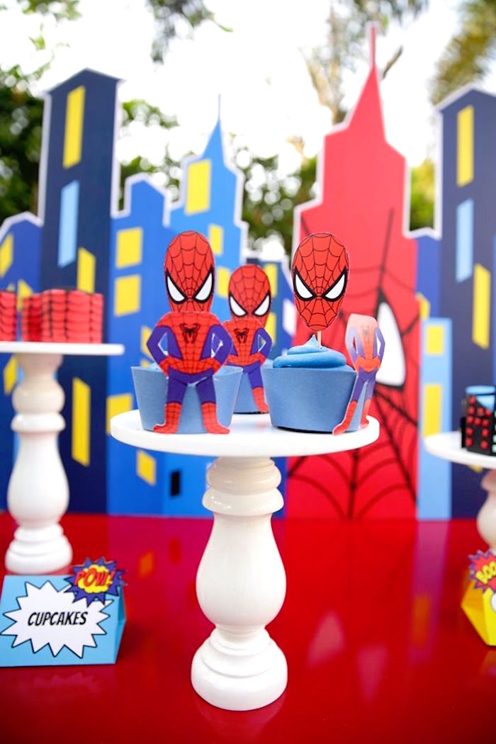 Spiderman cupcakes from a Calling All Superheroes Birthday Party on Kara's Party Ideas | KarasPartyIdeas.com (48)