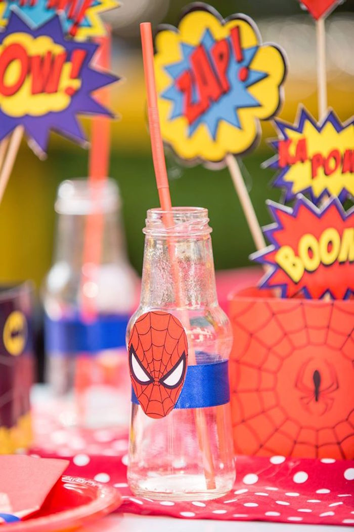 Spiderman drink bottle from a Calling All Superheroes Birthday Party on Kara's Party Ideas | KarasPartyIdeas.com (10)