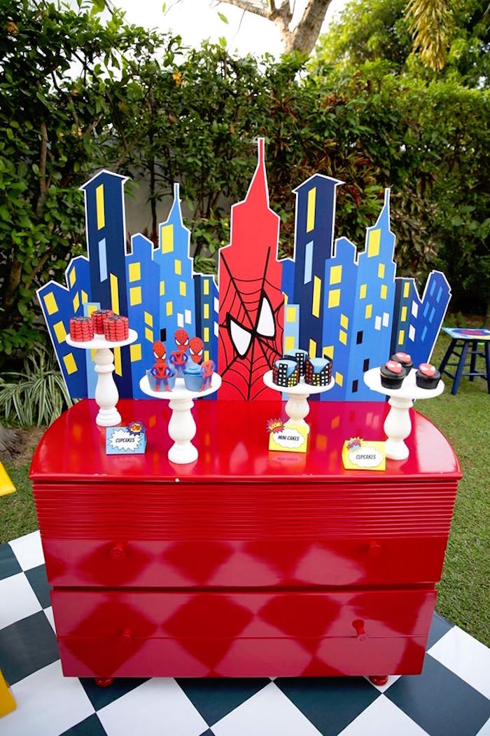 Spiderman dessert table from a Calling All Superheroes Birthday Party on Kara's Party Ideas | KarasPartyIdeas.com (9)