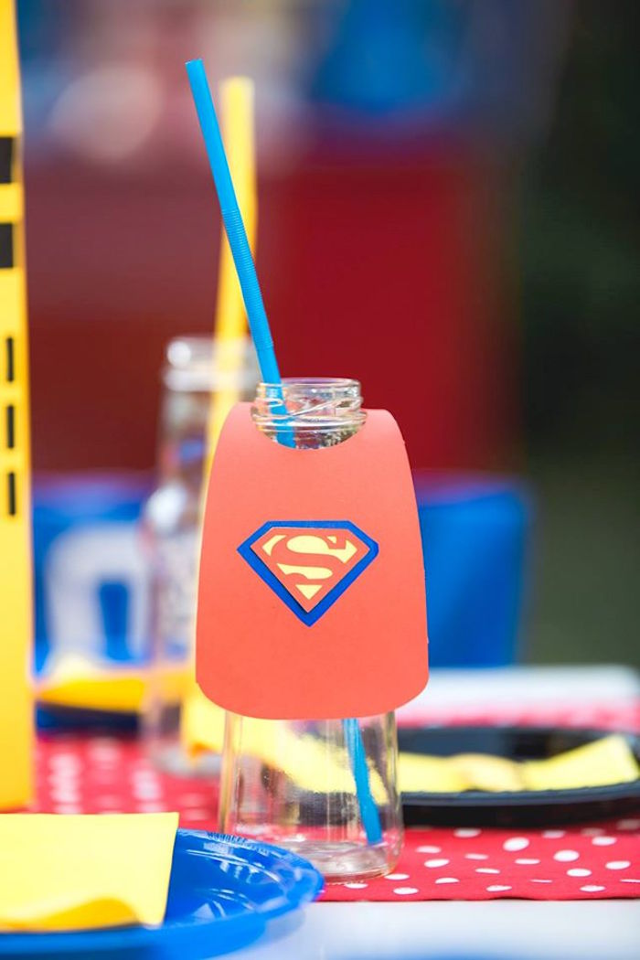 Superman drink cape from a Calling All Superheroes Birthday Party on Kara's Party Ideas | KarasPartyIdeas.com (8)