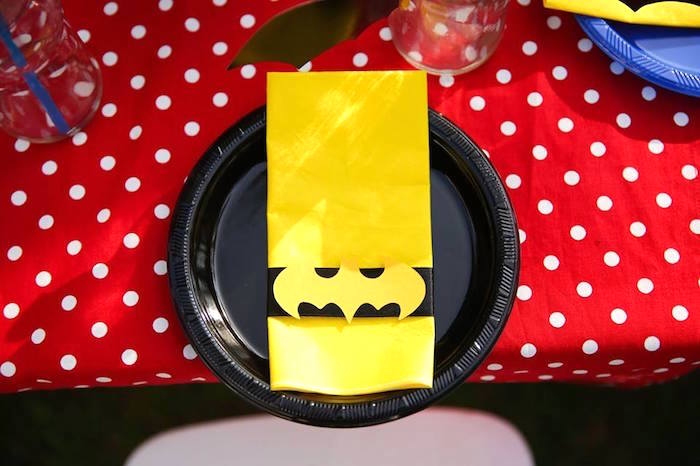 Batman place setting from a Calling All Superheroes Birthday Party on Kara's Party Ideas | KarasPartyIdeas.com (7)